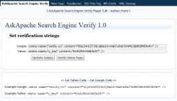 WordPress Plugin ScreenShot: AskApache Search Engine Verify Options