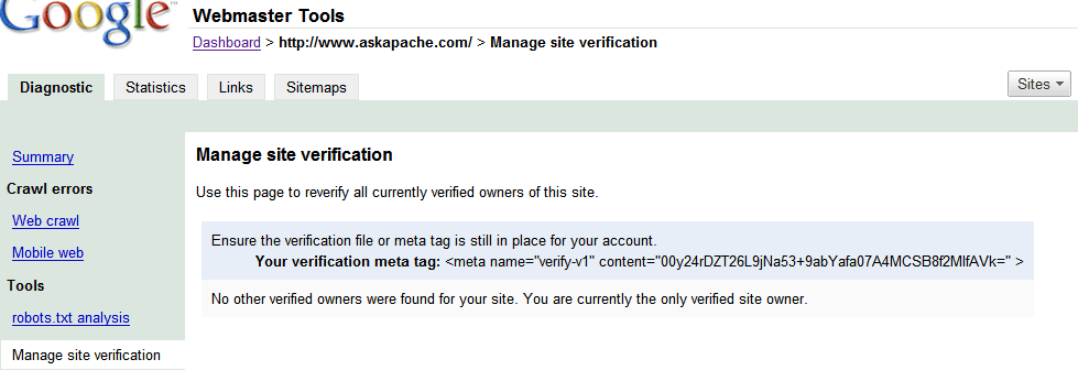 Updated: AskApache Search Engine Verify