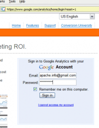 Get the form input values by logging in to google analytics