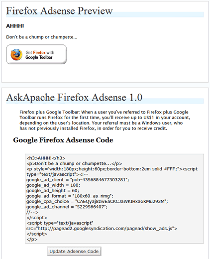 ScreenShot of WordPress Plugin AskApache Firefox Adsense