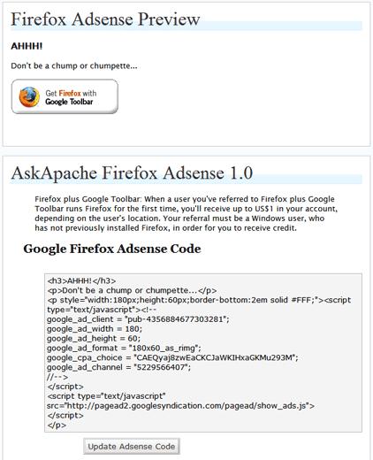 ScreenShot of WordPress Plugin AskApache Firefox Adsense