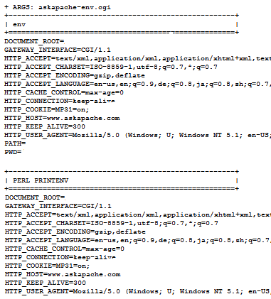 printenv and test-cgi script