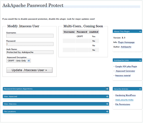 The Plugin Control Page