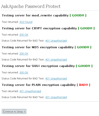 Testing Server for Encryption and .htaccess