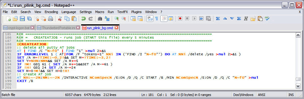 Create an AT job to run as system in Notepad++ IDE
