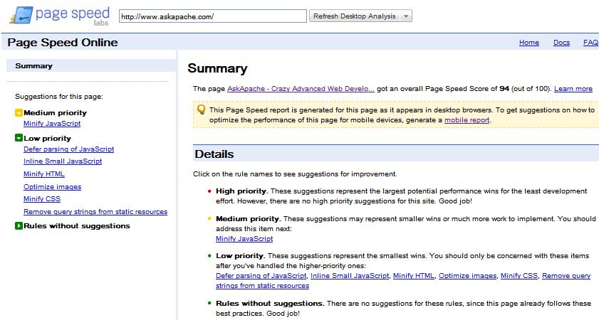 Googles Page Speed Online Tool