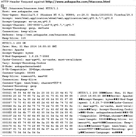 HTTP Header Tool Output