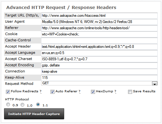 HTTP Header Tool Screenshot