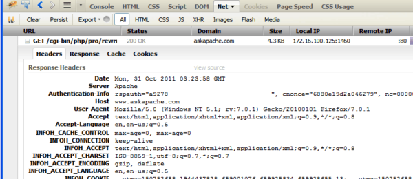 Firebug Net view of Request Headers added to Response Headers with Htaccess