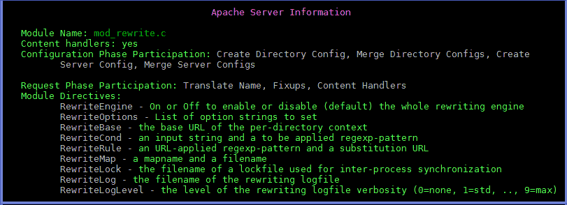 Terminal view of Mod_Rewrite.c Directives provided by Apache mod_status