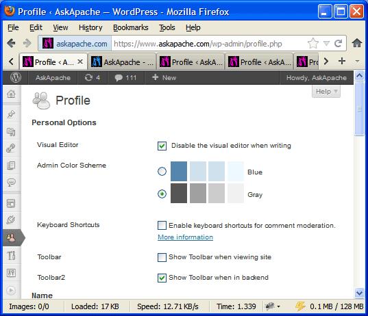 WordPress with Admin Bar