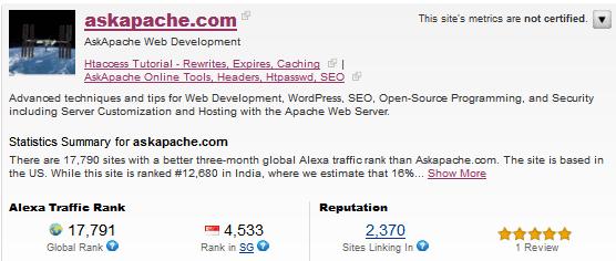 AskApache Alexa Site Info