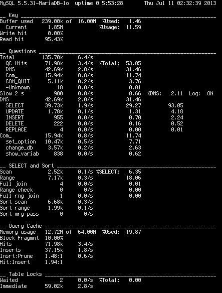 MySQL Performance Tuning Script: mysqlreport