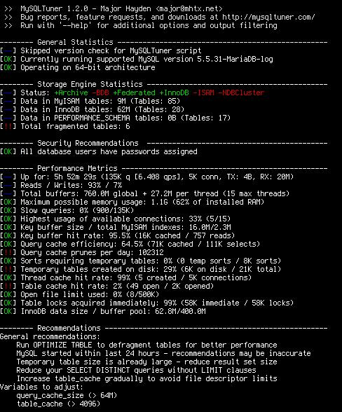 MySQL Performance Tuning Script: mysqltuner