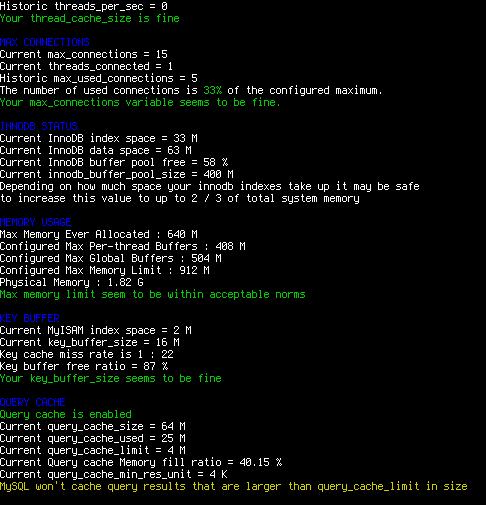 MySQL Performance Tuning Script: Tuning-Primer