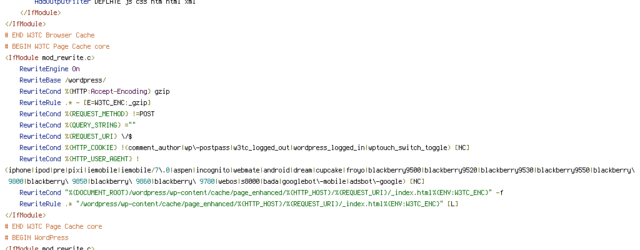 DEFLATE, DOCUMENT_ROOT, ENV, HTTP_COOKIE, HTTP_HOST, HTTP_USER_AGENT, POST, QUERY_STRING, REQUEST_FILENAME, REQUEST_METHOD, REQUEST_URI, W3TC_ENC