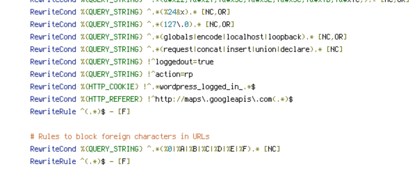 HTTP_COOKIE, HTTP_REFERER, HTTP_USER_AGENT, POST, QUERY_STRING, REQUEST_FILENAME, REQUEST_METHOD, REQUEST_URI, SCRIPT_FILENAME