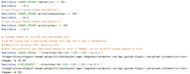 CACHE, DEFLATE, DOCUMENT_ROOT, ENV, HANDLER, HTTP_COOKIE, HTTP_HOST, HTTP_REFERER, HTTP_USER_AGENT, INCLUDES, POST, QUERY_STRING, REQUEST_FILENAME, REQUEST_METHOD, REQUEST_URI, THE_REQUEST, W3TC_ENC, W3TC_PREVIEW